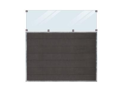 Plus Futura WPC Sichtschutzzaun mit Glas 180 x 180 cm