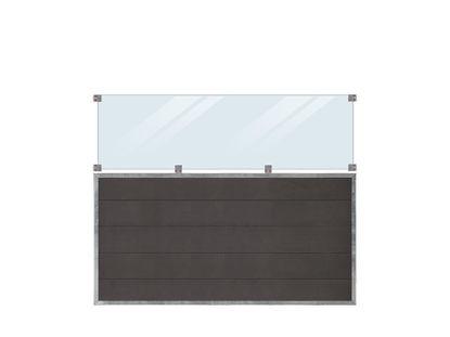 Plus Futura WPC Sichtschutzzaun mit Glas 180 x 145 cm