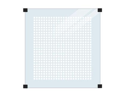 Plus Glaszaun Klarglas 90 x 91 cm. Für Montage an runden Stahlpfosten