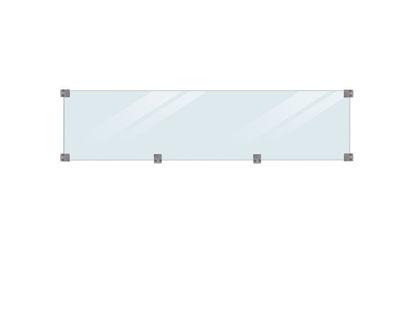 Plus Klink - Plank Glaszaun gehärtet klar Glaselement mit Beschlag - druckimprägniert Länge 174 cm