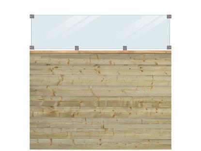 Plus Plank Profilzaun mit Glas und Fichte druckimprägniert 174 x 163 cm