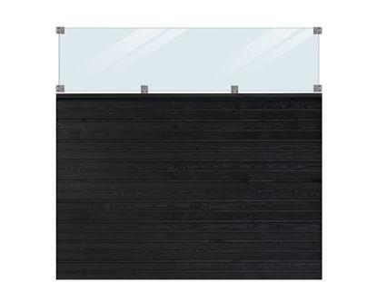 Plus Plank Profilzaun mit Glas und Fichte schwarz 174 x 163 cm
