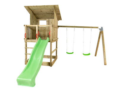 Plus Play Spielturm mit Dach, Schaukelbalken und grüner Rutsche 460 x 395 x 283 cm
