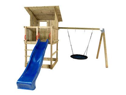 Plus Play Spielturm mit Dach, Schaukelbalken und blauer Rutsche 460 x 395 x 283 cm