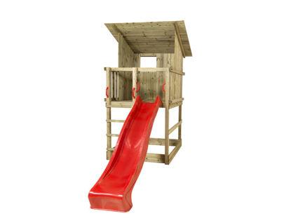 Plus Play Spielturm mit Dach und roter Rutsche 350 x 132 x 283 cm