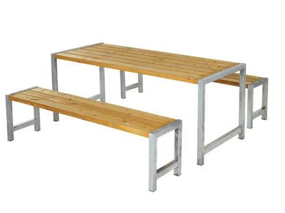 Plus Plankengarnitur 186 cm mit Tisch und 2 Bänke Lärche