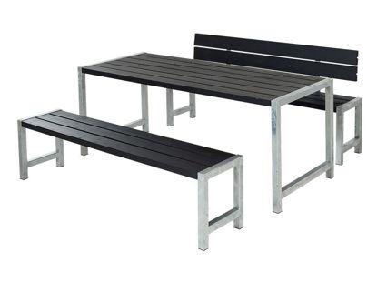 Plus Plankengarnitur mit Rückenlehne 186 cm - Tisch, 2 Bänken und 1 Rückenlehne schwarz