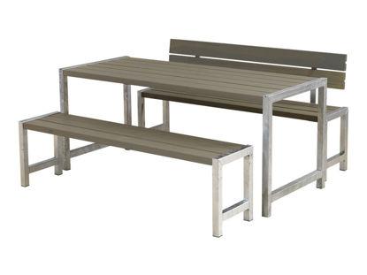 Plus Plankengarnitur 186 cm mit Tisch + 2 Bänke und 1 Rückenlehne graubraun