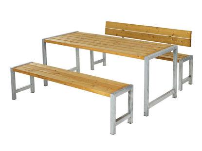Plus Plankengarnitur 186 cm mit Tisch + 2 Bänke und 1 Rückenlehne Lärche