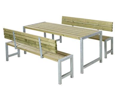 Plus Plankengarnitur mit 2 Rückenlehnen 186 cm - Tisch,  2 Bänke und 2 Rückenlehnen druckimprägniert