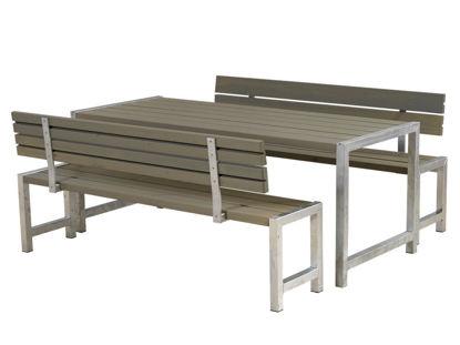 Plus Plankengarnitur 186 cm mit Tisch + 2 Bänke mit 2 Rückenlehnen graubraun
