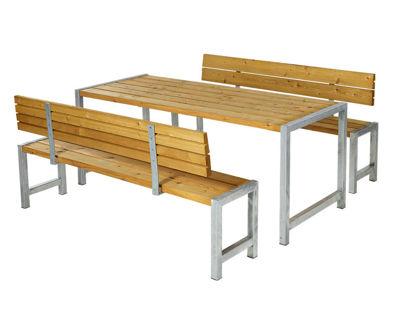 Plus Plankengarnitur mit 2 Rückenlehnen 186 cm - Tisch, 2 Bänke und 2 Rückenlehnen Lärche