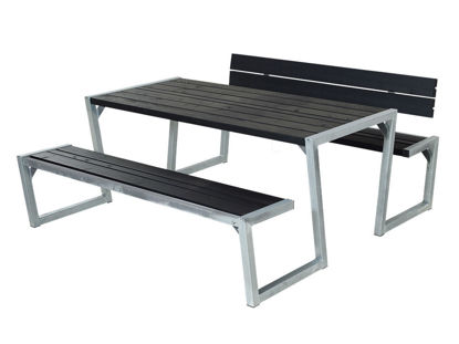 Plus Zigma Kombimöbel mit 1 Rückenlehne Kiefer-Fichte schwarz 176 cm