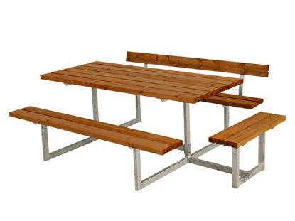 Plus Basic Kombimöbel mit 1 Rückenlehne + 1 Ergänzung teakfarben 219 x 172 x 73 cm