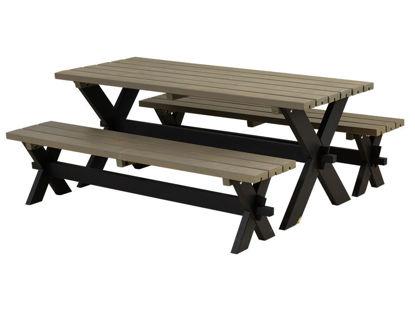 Plus Nostalgi Plankengarnitur 177 cm schwarz - graubraun Tisch und 2 Bänke