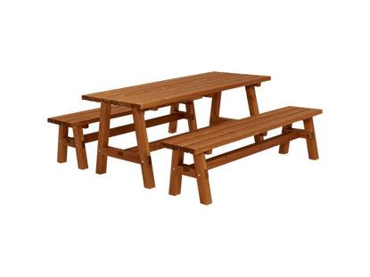 Plus Country Plankengarnitur 177 cm 1 Tisch und 2 Bänke teakfarben