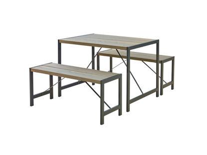 Plus Funkis Garnitur 1 Tisch und 2 Bänke 103 cm graubraun
