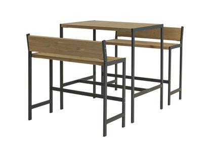 Plus Funkis Barset 1 Tisch und 2 Bänke 103 cm graubraun