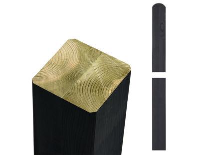 Plus Premium Leimholzpfosten Rundkopf NTR-A 9 x 9 x 268 cm schwarz