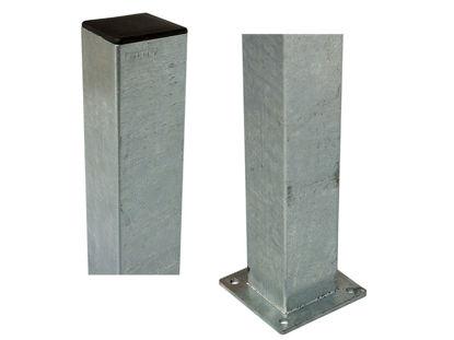 Plus Stahlpfosten quadratisch mit Fuss  8 x 8 x 150 cm